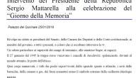 """Visualizza o scarica l' intervento del Presidente della Repubblica Sergio Mattarella alla celebrazione del """"Giorno della Memoria"""" CLICCANDO QUI!"""